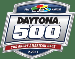 Dayton 500 Logo in blue, red, grey