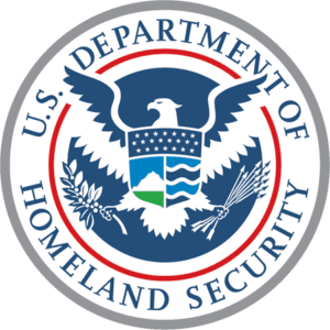 Department of Homeland Security logo in blue, green, grey, and red