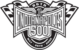 Black and white 86th Indianapolis 500 logo 2002
