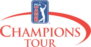 PGA Champions Tour logo in red and blue