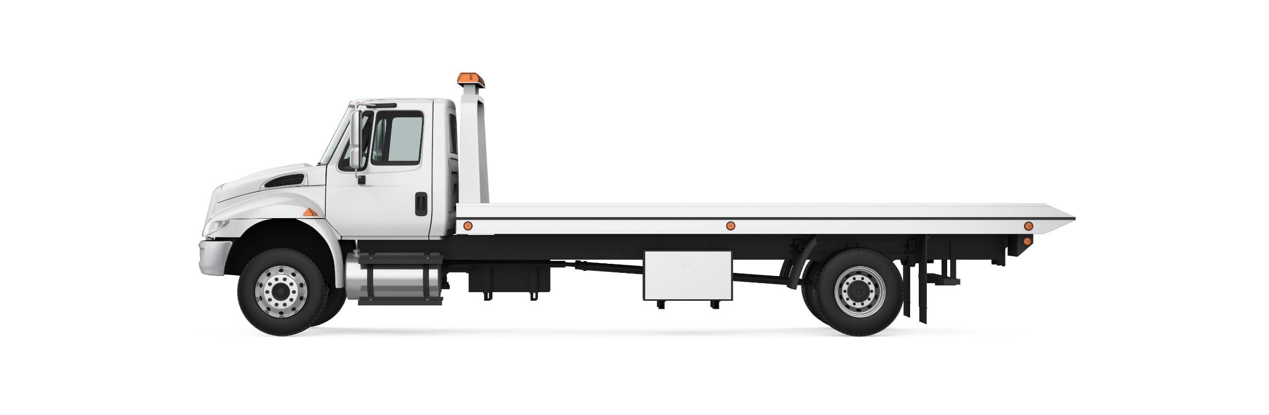 White Roll Back Truck