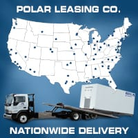 A trailer truck with a walk-in freezer and a world map in the background