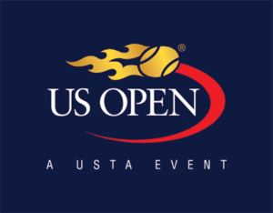 US open logo in navy blue, red, gold, white
