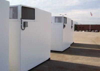 Emergency refrigeration polar leasing units outside on concrete