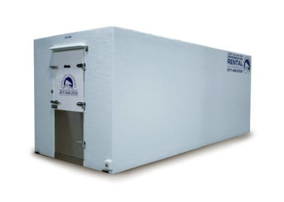 Large white Polar Leasing portable cooler rental