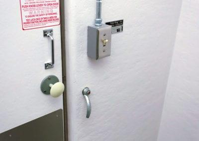 Door and door handle of Polar Leasing freezer storage unit